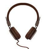 Brown modern headphone isolated Royalty Free Stock Photo