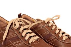 Brown modern leather shoe Stock Images