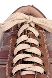 Brown modern leather shoe Royalty Free Stock Images