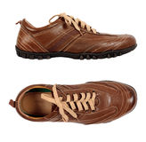 Brown modern leather shoe Stock Photo