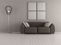 Brown modern living room Royalty Free Stock Photos