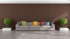 Brown modern living room Stock Photos