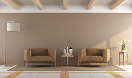 Brown modern living room Royalty Free Stock Photo