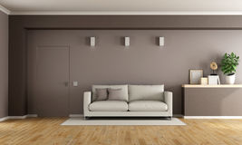 Brown modern living room Royalty Free Stock Image