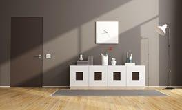Brown modern livingroom. With sideboard and closed door - 3D Rendering Royalty Free Stock Photos