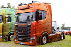 Brown modificó Scania para requisitos particulares S580 de Martin Pakos Show Truck Foto de archivo libre de regalías