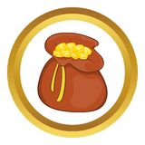 Brown money bag full of coins vector icon Stock Photo