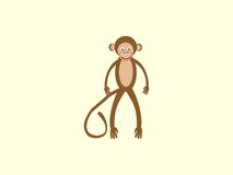 Brown monkey long tail style children Stock Image