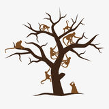 Brown monkey tree with a lot of monkeys eps10 Stock Image