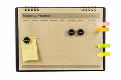 Brown Monthly planner isolated stock images