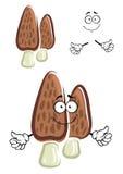 Brown morel mushroom cartoon character Stock Photography