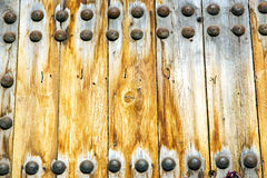 Brown  morocco in    africa the old wood  facade  safe padlock Royalty Free Stock Images