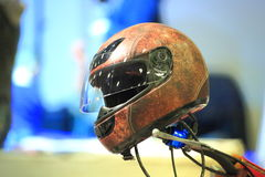 Brown motorcycle helmet Royalty Free Stock Photography