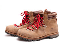 Brown mountain boots. Isolated on a white background Stock Photography