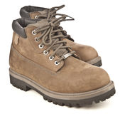 Brown mountain boots Stock Photography