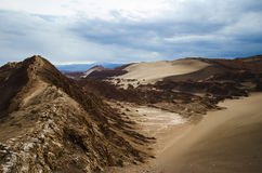 Brown Mountain Surrounded by Brown Sand Under Grey and Blue Sky during Daytime Royalty Free Stock Image