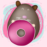 Brown mouse with donut. Mouse with donut, on pink background Royalty Free Stock Photos