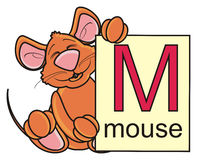 Brown mouse holding a card with the letter M. Brown mouse holding a card with the letter M Stock Image