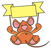 Brown mouse lies and keeps empty transporant Stock Photo