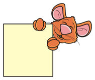 Brown mouse looks out of blank labels Royalty Free Stock Photo