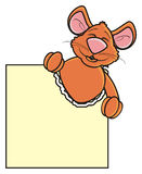 Brown mouse looks out of blank labels Royalty Free Stock Photography
