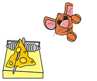 Brown mouse next to mousetrap Royalty Free Stock Images