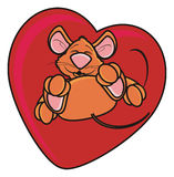 Brown mouse is in red heart Royalty Free Stock Image