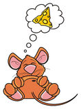 Brown mouse is sleeping and dreaming about cheese Royalty Free Stock Photo