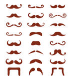 Brown moustache or mustache  icons set Royalty Free Stock Photography