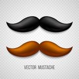 Brown, moustaches d'isolement noires réglées Vecteur illustration stock