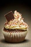 Brown muffin with chocolate chip and vanilla cream stock photo