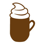 Brown mug of cappuccino with cream. Illustration Stock Image