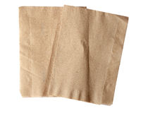 Brown napkin isolate on white (clipping path) Royalty Free Stock Images