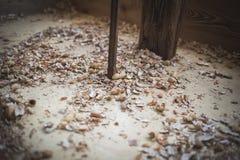 Brown naturalnej plewy arachidowa łupa na podłoga obrazy royalty free