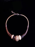 Brown Necklace ethnic jewelry jewelry. On a black background Royalty Free Stock Photography