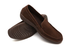 Brown new moccasins Royalty Free Stock Photography