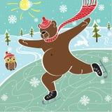 Brown niedźwiedź jeździć na łyżwach na łyżwiarskim lodowisku. Humorystyczna ilustracja Royalty Ilustracja