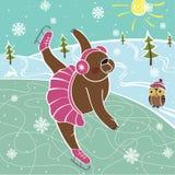 Brown niedźwiedź jeździć na łyżwach na łyżwiarskim lodowisku. Humorystyczne ilustracje Ilustracji