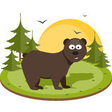 Brown niedźwiedź Płaska wektorowa ilustracja Zdjęcia Stock
