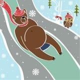Brown niedźwiedź stacza się na saniach. Humorystyczna ilustracja Royalty Ilustracja