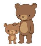 Brown niedźwiedź z jej ślicznym małym lisiątko misiem pluszowym ilustracji
