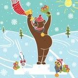 Brown niedźwiedzia mistrz na piedestale. Nagradzać zwycięzcy. Zimy spo Ilustracji