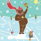 Brown niedźwiedzia mistrz na piedestale. Wnners Nagradzać. Zima sporty Royalty Ilustracja