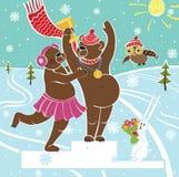 Brown niedźwiedzia mistrz na piedestale. Zima sporty. Nagradzać zwycięzca Ilustracja Wektor