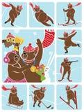 Brown niedźwiedzia mistrz na piedestale. Zima sporty. Nagradzać zwycięzca Royalty Ilustracja