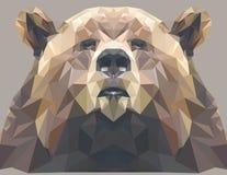 Brown niedźwiedzia portret Abstrakcjonistyczny niski poli- projekt również zwrócić corel ilustracji wektora Zdjęcie Stock
