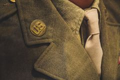 Brown Notched Lapel Suit Jacket Close-up Photo Royalty Free Stock Images
