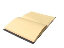 Brown notebook with isolate. Open brown blank notebook with isolate white background Stock Photography