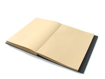 Brown notebook with isolate. Open brown blank notebook with isolate white background Stock Image