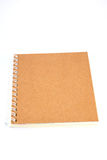 Notebook. Brown notebook made from recycled on white background Royalty Free Stock Image